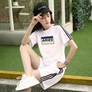 運動套裝 ins網紅百搭兩件套夏季2020新款女韓版短袖T恤搭配短褲運動服套裝 曼慕衣櫃