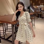 清倉$388 韓系復古波點V領泡泡袖顯瘦雪紡短袖洋裝