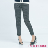【RED HOUSE 蕾赫斯】修身格紋九分棉褲(黑色)