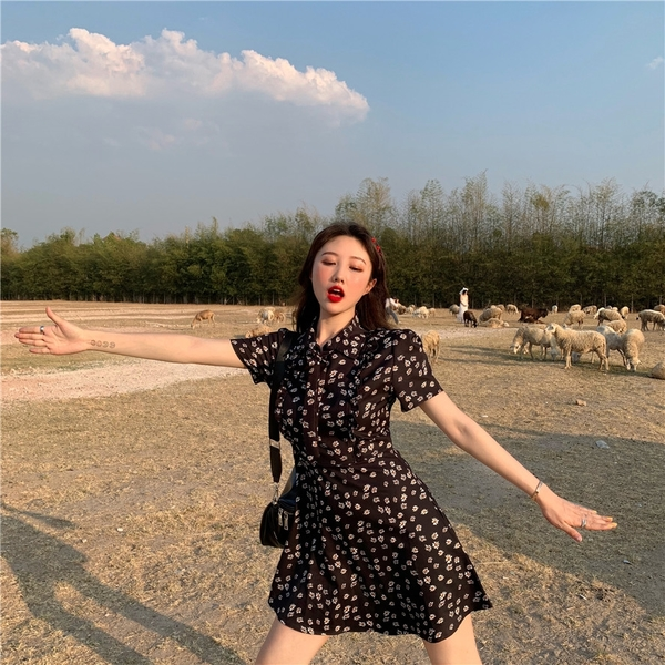 出清388 韓國風INS時尚小菊花短袖洋裝