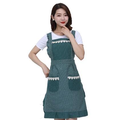 圍裙 純棉家用廚房圍裙防水雙層做飯防油時尚可愛公主圍腰裙子式工作女【快速出貨八折優惠】