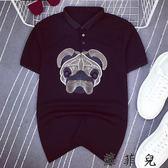 翻領短袖polo衫男士韓版修身T恤