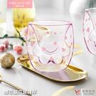 【堯峰陶瓷】 櫻花貓爪玻璃杯 雙層玻璃杯 萌貓 雙層玻璃飲品瓶 耐高溫高硼硅玻璃 免運