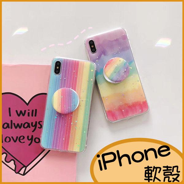 創意彩虹軟殼iPhone11 Pro max手機殼 XR保護殼XS max iPhone8 plus透明殼i6splus防摔殼 i7 Plus殼
