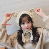 保暖耳罩 冬季可愛貓耳朵毛線針織耳罩女