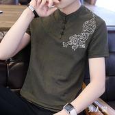 民族風上衣夏季男士短袖t恤中國風盤扣潮流中式復古棉麻半袖V領 FR9735『男人範』