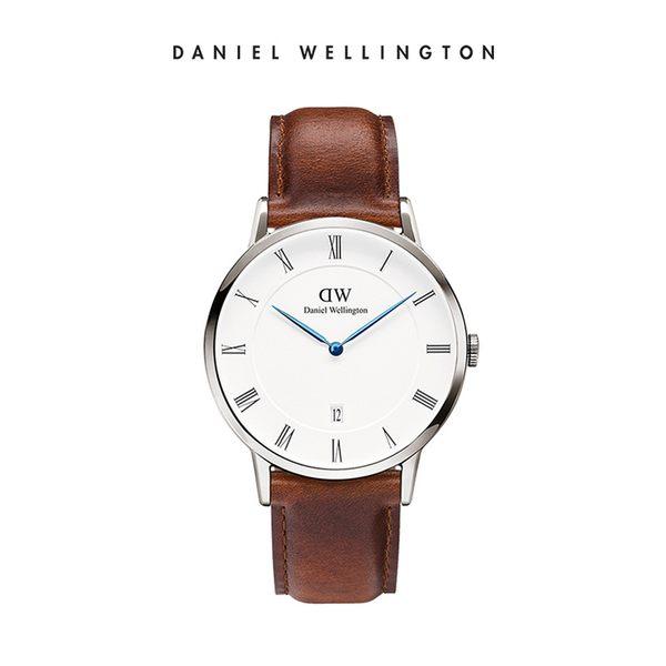Daniel Wellington DW 手錶 38mm銀框 Dapper 棕色真皮皮革錶