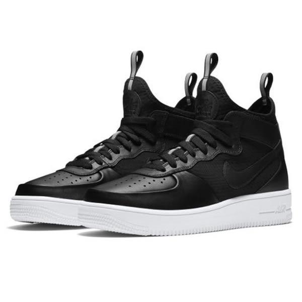NIKE AIR FORCE 1 ULTRAFORCE MID 男鞋 籃球 休閒 高筒 襪套 黑白 【運動世界】 864014-001
