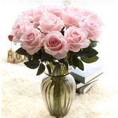 新年好禮 單支仿真玫瑰花假花套裝高檔客廳餐桌裝飾花干花花束擺件擺設花藝