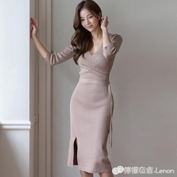 針織打底裙女秋冬內搭中長款修身V領七分袖御姐洋裝氣質輕熟風 檸檬衣舍