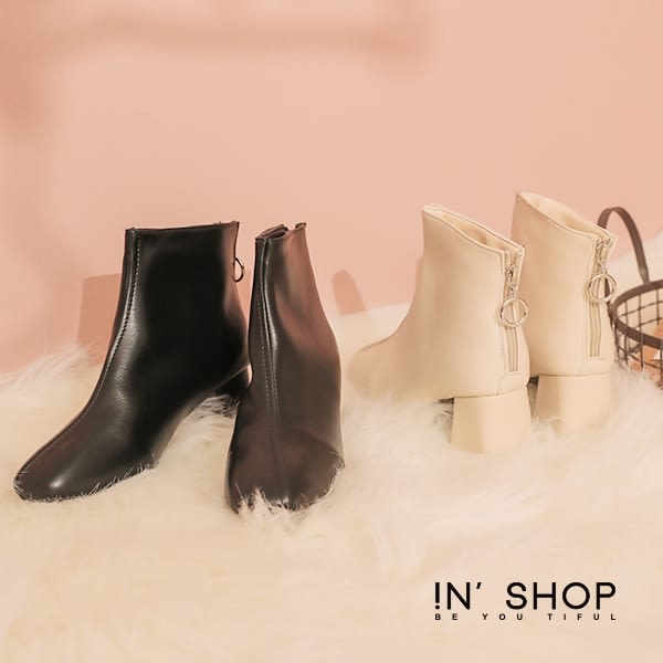 IN'SHOP極簡個性後拉鍊方頭短靴-共2色【KS30022】