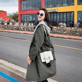 中長款風衣女2018秋季新款韓版學生chic寬鬆拼接連帽港風lulu外套