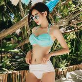 泳裝 比基尼 泳衣 交叉抓皺綁帶繞頸兩件式泳衣【SF7028】 icoca  04/13
