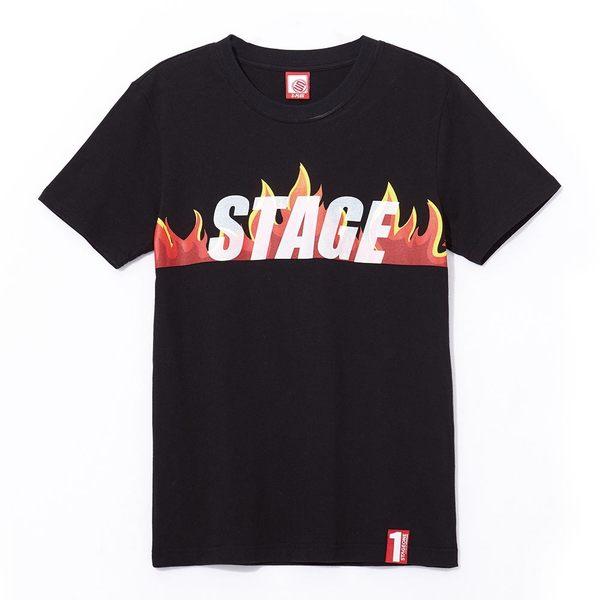 火焰LOGO TEE  STAGEONE BURNING EDGE TEE 黑色/白色 兩色