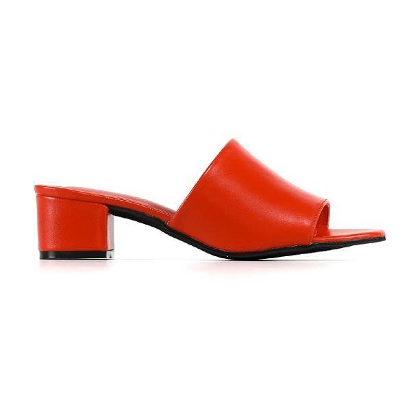 ALL BLACK 極簡魅力一字寬帶平低跟涼拖鞋*紅色