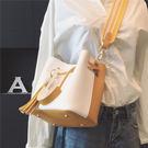 包包新款女包正韓原宿寬帶水桶包簡約手提包單肩包斜背包小包多色小屋