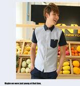 新款 衫  2014新品男款夏日시퐁셔츠襯衫 戶外休閒男士條紋襯衫 韓味男式短袖襯衫