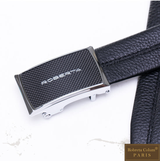 Roberta Colum - 低調品牌款碳纖自動金屬滑扣黑牛皮皮帶