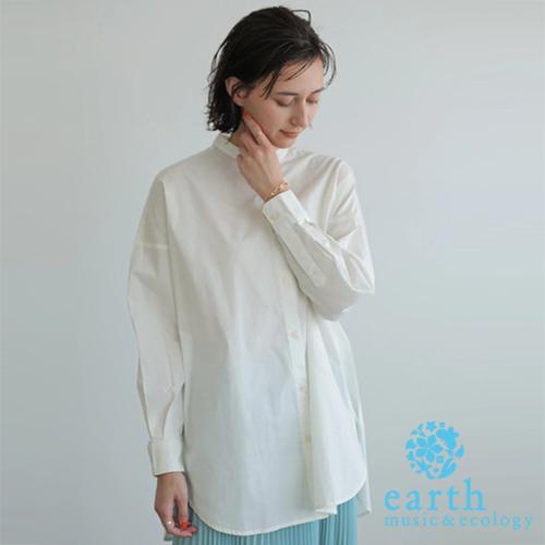 「Hot item」有機棉條紋/素面長版襯衫上衣 - earth music&ecology