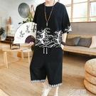 夏季中國風男裝短袖t恤男士亞麻套裝半袖中袖大碼胖子寬鬆棉麻潮 3C優購