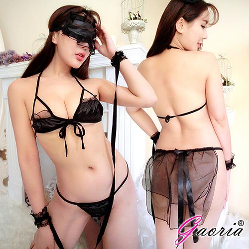 情趣內衣 內衣 內褲  【Gaoria】閨房遊戲 三點式 多件套遊戲 性感情趣內衣 黑N4-0045