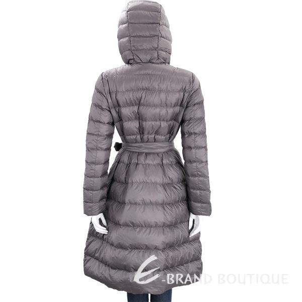 MARELLA 深灰色連帽衍縫綁帶羽絨外套 1710677-11