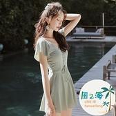 女連身泳衣連身裙泡溫泉保守遮肚子顯瘦韓國游泳衣遮肉 風之海