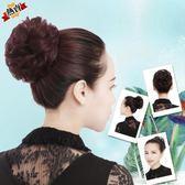 假髮 女仿真髮圈頭花飾品盤髮花苞頭髮飾髮包皮筋繩蓬鬆