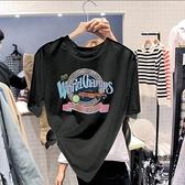 圓領字母圖案女寬鬆純棉百搭上衣短袖T恤韓版【聚物優品】