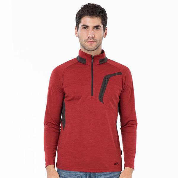 PolarStar 男 麻花吸排立領長袖衣『暗紅』P19253 上衣 男版 休閒 戶外 登山 吸濕排汗 透氣