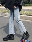 直筒褲 九分牛仔褲女直筒寬鬆2021年新款春秋新款高腰顯瘦韓版黑色褲子潮新品