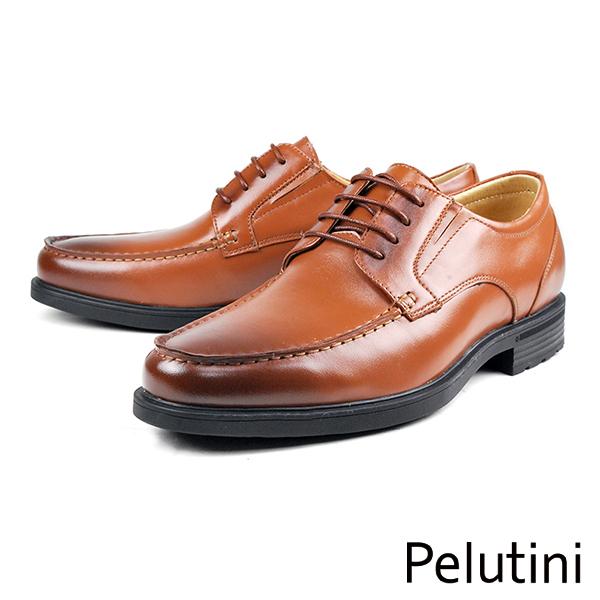 【Pelutini】經典真皮厚底紳士鞋 咖啡(6505-BR)