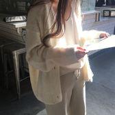 梨卡 - 秋冬甜美氣質V領鈕扣軟綿綿羊絨上衣外套針織毛衣BR108
