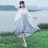 新款漁舟唱晚長裙中國風繡花漢元素漢服女齊胸襦裙兩穿