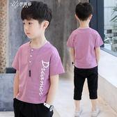 男童夏裝短袖圓領T恤中大童兒童小孩半袖體恤韓版上衣潮       伊芙莎