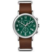 TIMEX 天美時 三眼計時 手錶(TXT2P97400) Weekender Chrono 系列 綠面
