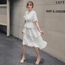 碎花裙 2021夏裝新款韓版很仙的法國小眾洋裝女顯瘦蛋糕裙碎花雪紡裙子