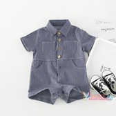 西裝禮服 寶寶工裝連身衣夏童裝兒童洋氣夏裝棉帥潮短袖1至2歲六 八個月