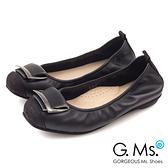 G.Ms. MIT系列-拼接鱷魚紋皮帶飾釦牛皮娃娃鞋-迷人黑