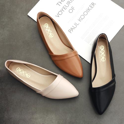平底鞋.訂製款.MIT馬卡龍色皮革甜美尖頭平底鞋.白鳥麗子