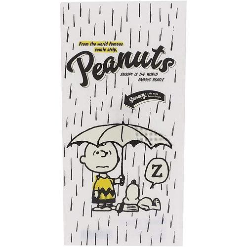 Marimo 日本製PP雙袋式折疊票券收納夾 SNOOPY 雨中睡覺 白 FT13158