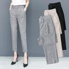 西裝褲 九分哈倫褲女2021春季新款寬鬆百搭鬆緊腰灰色褲子直筒顯瘦小西褲 歐歐