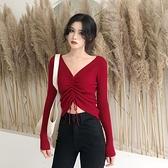 春秋v領心機女性感抽繩系帶長袖上衣針織打底衫高腰短款露臍t恤潮寶貝計畫