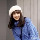 冬季白色貝雷帽女秋冬毛絨蓓蕾帽子甜美可愛毛毛冬天英倫帽 yu10005『俏美人大尺碼』