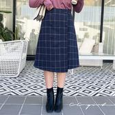 中大尺碼  學院風經典排釦格紋A字長裙 - 適XL~4L《 69232 》CC-GIRL