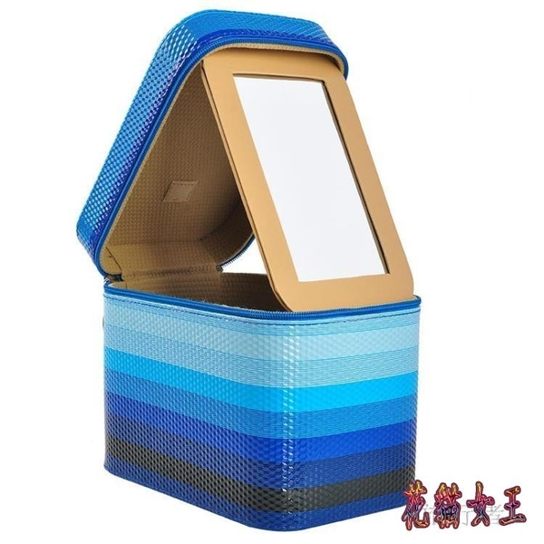 化妝箱 大鏡子收納箱女士旅行便攜化妝包防水洗漱用品收納盒 BF9846【花貓女王】
