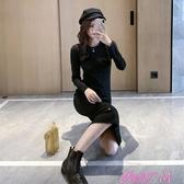 長袖洋裝女秋季新款閃亮黑色針織連身裙修身中長款後開叉長袖打底裙女冬春季新品