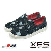 男鞋 XES 抽象線性藝術 平底懶人鞋 樂福鞋 時尚休閒鞋_繽紛黑