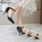 蝴蝶結高跟鞋2021年春新款法式少女百搭黑色網紅尖頭細跟單鞋仙女 蘿莉新品