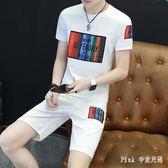 兩件套男士夏季短袖T恤韓版休閒套裝修身寬鬆大碼運動短褲一套半袖上衣LZ1880【PINK中大尺碼】